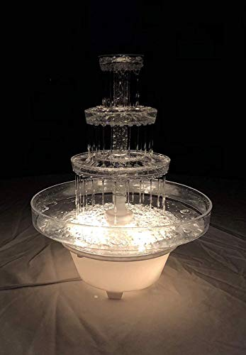 Lighted Plastic Water Fountain for Weddings, Garden, Home, Office, or Cake Centerpiece - Lighted Punch Fountain