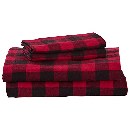 - Stone & Beam Rustic Buffalo Check Flannel Bed Sheet Set, California King, Red and Black