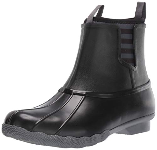 Sperry Womens Saltwater Chelsea Rubber Boots, Black, 12