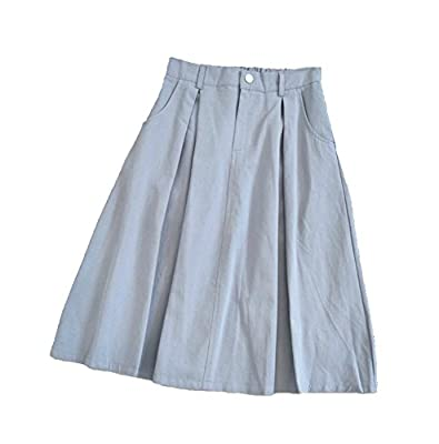 Usatisfy Womens Cotton Elastic Waist A Line Skirts with Pockets and Zipper Front