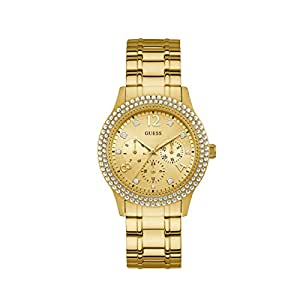 Guess Bedazzle Gold Dial Stainless Steel Ladies Watch W1097L2