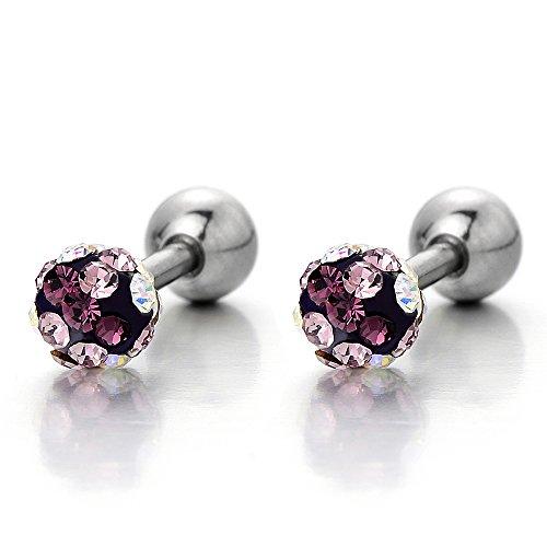 Stainless Womens Earrings Purple Zirconia