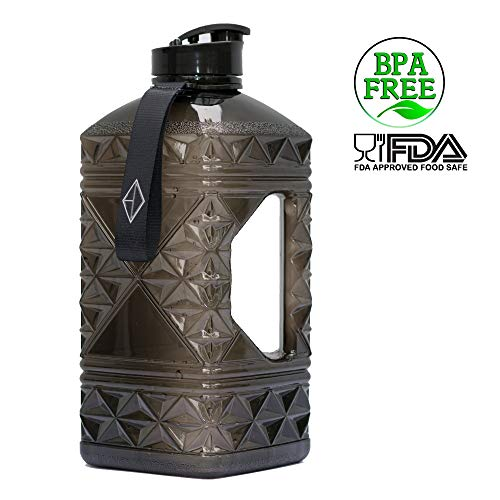Hydro Diamond Water Bottle BPA Free Premium Square Large 2.2 Liter Fast Flow Flip Top Leak Proof Big Water Jug Container FDA Certified Food Safe Plastic Perfect for Gym Camping and Sport 2L