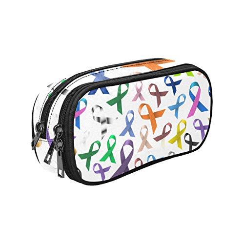 Pencil Case Zipper Bag Cancer Awareness Various Color Shiny Ribbons Large Capacity Nylon Double Zipper Pencil Box Single