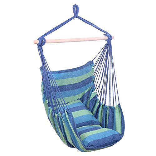 GuGio Hanging Rope Hammock Chair Swing Seat for Any Indoor or Outdoor Spaces - Seat Cushions Included