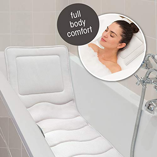 MICRODRY In Tub Lounger with Built In Pillow, Luxury Cushion, Supports Your Head, Neck, Shoulders, Back, and Tailbone