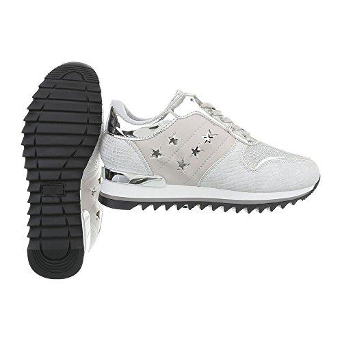 Ital-Design Chaussures Femme Baskets Mode Compensé Sneakers Espadrilles High Gris Clair G-127 alOYRJ
