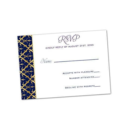 100 RSVP Response Cards Navy Blue Gold Damask Design + Envelopes (Damask Kit White Invitations)