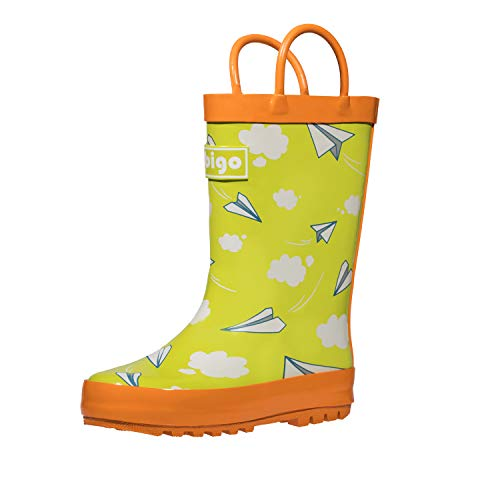 hibigo Children's Natural Rubber Rain Boots with Handles Easy for Little Kids & Toddler Girls, Paper Plane