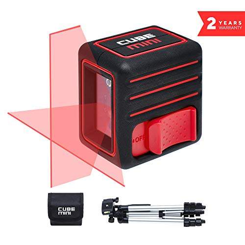 (Laser Level, ADA Cube Mini Professional edition, Laser Level, 10 meters (32 feet), Black/Red, Crossline Self-Leveling Laser Level kit with Tripod, Carrying Pouch, batteries and manual included )