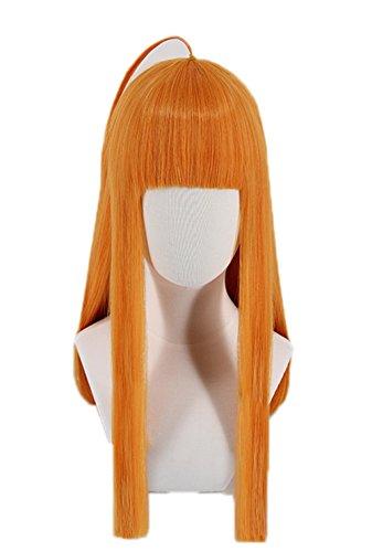 Futaba Sakura Navi Cosplay Wig Xcoser Persona 5 Orange Straight Long Hair  for Women