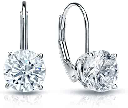 2.0 ct Brilliant Round Cut Solitaire Highest Quality Moissanite Anniversary gift Leverback Drop Dangle Earrings Real Solid 14k White Gold