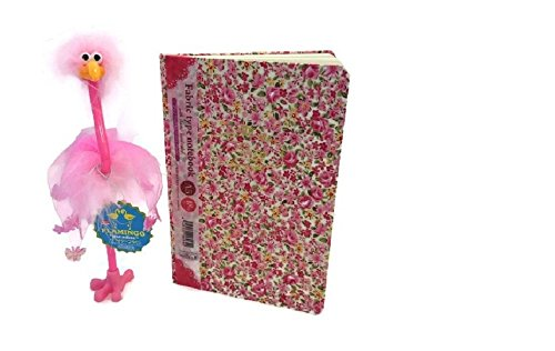 Pretty in Pink Girl's Journal & Pen Bundle: Two Items - One Floral Journal and One Pink Fluffy Flamingo Pen