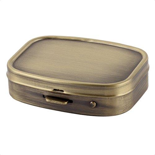 uxcell® Metal Rectangle 2 Grid Moistureproof Medicine Holder Pill Storage Box 55 x 45 x 15mm Bronze Tone (Durable Case Metal)