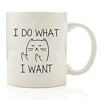 I Do What I Want Funny Coffee Mug Cat Middle Finger 11 oz - Birthday Gift For Men & Women, Him or Her - Best Office Cup & Christmas Present Idea For Mom, Dad, Boyfriend, Girlfriend or Coworkers