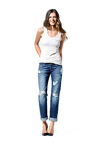 Standards & Practices Women's Light Blue Stretch Denim Destroyed Boyfriend Jeans Size 31 x (Destroyed Boyfriend Jean)