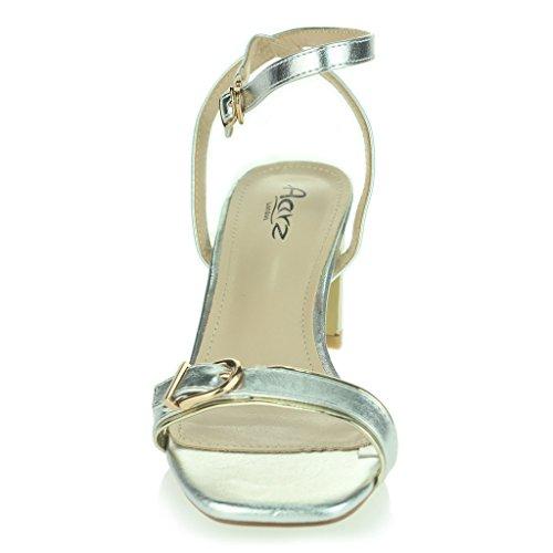Mujer Señoras Dos Partes Correa De Tobillo Punta Abierta Diamante Tacón Alto Noche Casual Fiesta Boda Prom Sandalias Zapatos Tamaño Plata