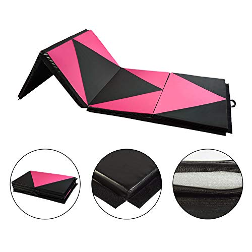 4'x10'x2 Pu Leather Gymnastics, Tumbling, Martial Arts & Exercise Folding Mats- 4 Sections