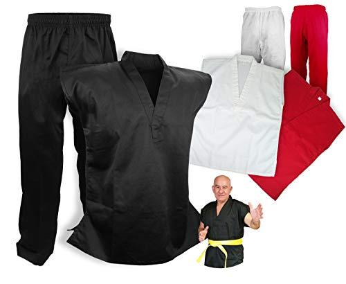 PROWIN1 Sleeveless Martial Arts Uniform Gi Set Karate Taekwondo, Cotton/Poly Blend Black/White/Red (Black, 4)
