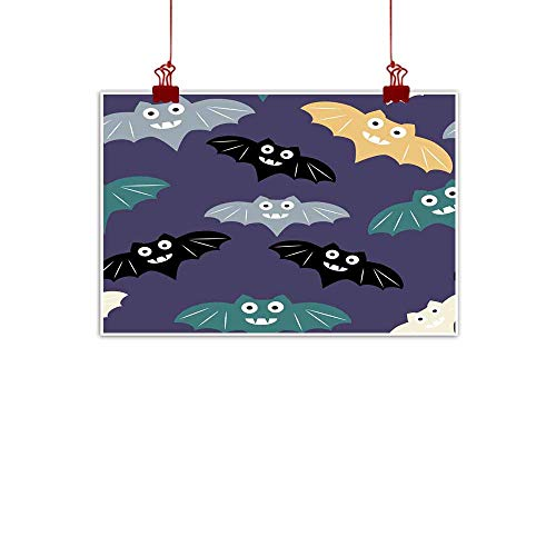 Mannwarehouse Chinese Classical Oil Painting Halloween Seamless Pattern Background with Colorful bat Cute Minimalistic Art Elements for Living Room Bedroom Hallway Office 28