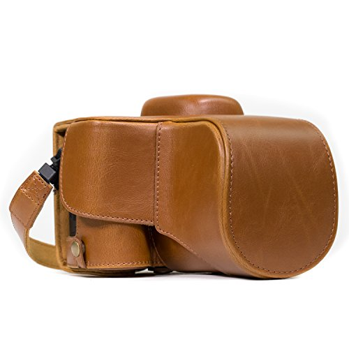 MegaGear Nikon D3400 Ever Ready Leather Camera Case and Strap, with Battery Access - Light Brown - MG858