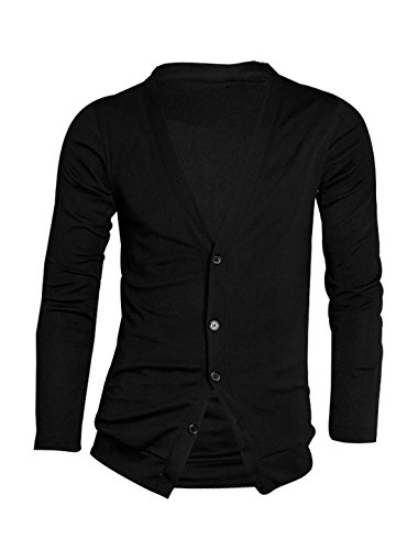 Allegra K Men Single Breasted Stretchy Spring Knit Cardigan Black L