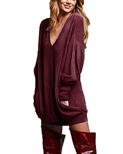 ZANZEA Women's Sexy Casual Loose Long Sleeve Jumper Baggy V-Neck Tops Blouse T-Shirt