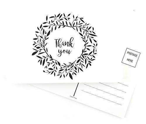 Thank You Cards 50 Ct Greeting PostCards Notes Black White Greenery for Wedding, Baby Shower, Bridal, Business, Anniversary- Bulk Box, 1 Postcard Design Postcard Style Blank Back 4x6 With No Envelope