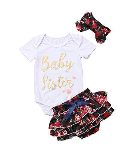 (Baby Girls Jumpsuit Newborn Infant Kids Floral Clothes Shorts Summer Romper Bodysuit Sundress Outfits (3-6 Months, Black))
