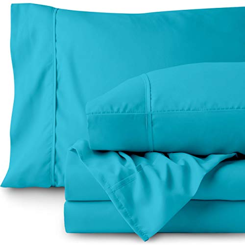 Bare Home Queen Sheet Set - 1800 Ultra-Soft Microfiber Bed Sheets - Double Brushed Breathable Bedding - Hypoallergenic - Wrinkle Resistant - Deep Pocket (Queen, Aqua)