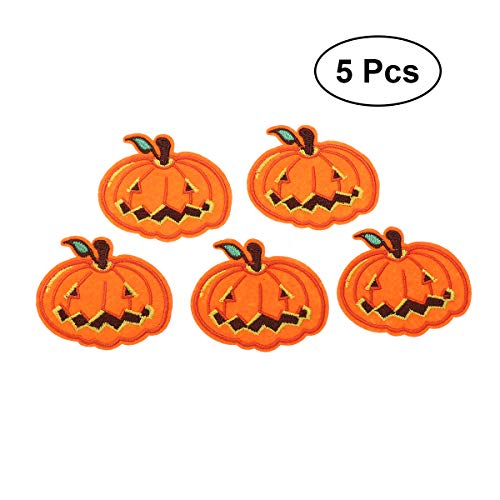 SUPVOX 5pcs DIY Halloween Iron on Patch Embroidered Applique Patches Sew on Badges Clothes DIY Accessory (Pattern 5) -