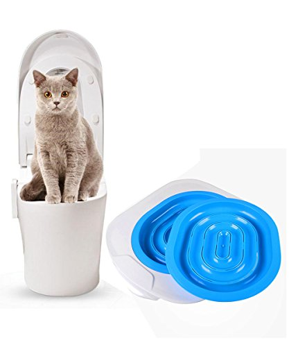 Hkim Cat Toilet Trainer, Cat Potty Kittty Litter Training System Kit,Teach Your Cat to Use the Toilet, Blue