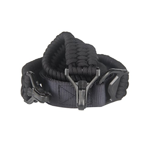 Buckle Sling - HLHRainbow Paracord 850 Gun Sling with Strong Buckle 2 Point Adjustable Strap for Outdoor&Survival (Black)