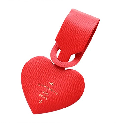 Luggage Tag,Starlit Lovely Heart Shaped Tag Name ID Card for Suitcase (Red) (Shaped Luggage Tag)