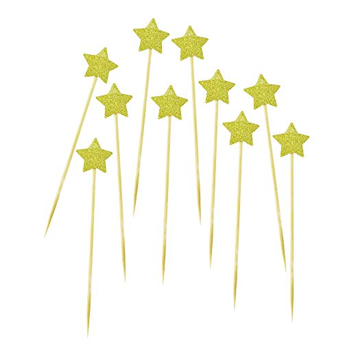 DLOnline 50Pack Cupcake Topper Glitter Gold Star Cakes Toppers]()