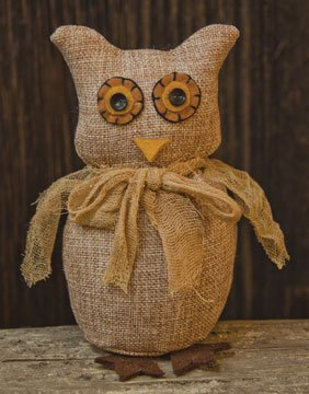 Primitive Rusty Tin (Stuffed Burlap Owl Felt Penny Eyes Rusty Tin Feet Country Primitive Décor)