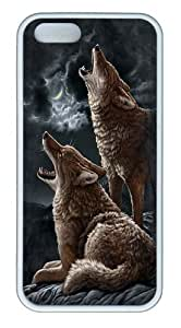 Howling Coyotes 2 TPU Silicone Case Cover for iPhone 5/5S White,Original Design