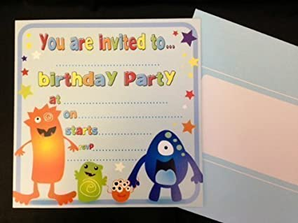 Amazon 16 x boys birthday invite party invitations with monster 16 x boys birthday invite party invitations with monster alien design filmwisefo