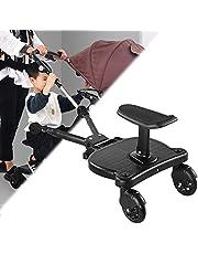 Zweefvliegtuig voor kinderwagen, baby-comfort meerijdplankje met afneembare stoel, adapter kinderwagenrit aan boord, verrijdbare buggyplank Comfort meerijdplankje voor kinderen tot 55 lbs