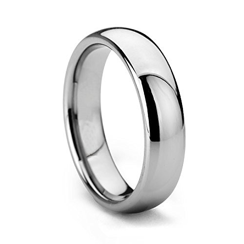 Queenwish 4mm White Tungsten Plain Comfort Fit Wedding Band or Couple Ring Size 6.5