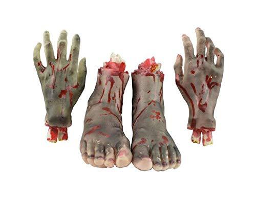 Halloween Skeleton Body Parts (XoYo Halloween Body Parts, 4 Pieces(Feet & Hands) (Black), Halloween Scary Cut Off Bloody, Horror Hand &Feet, Scary Realistic Broken Exposed Bone Hands & Feet, Halloween Prank)