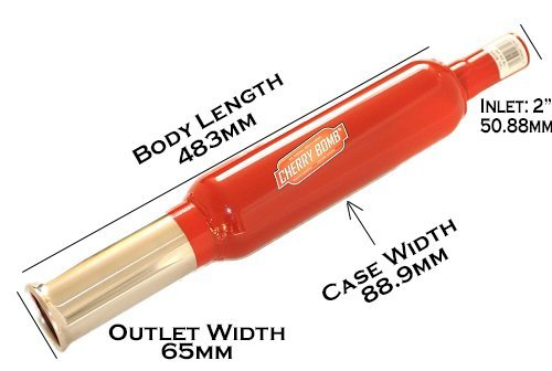 Zunsport Cherry Bomb Universal Performance Exhaust Rear Back Box Silencer Round Tail Pipe Standard Inlet 51-55mm Red Finish