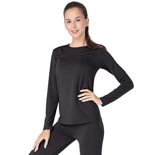 Thermal Underwear for Women Long Johns Set Fleece Lined Ultra Soft (Black, Large) (Snowboarding Set Women)