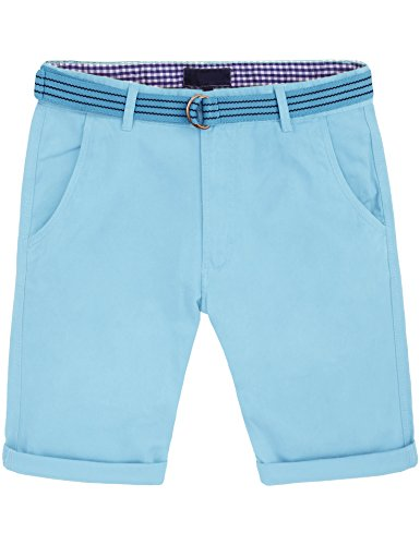 Sky Blue Shorts - Ma Croix CK Mens Twill Chino Shorts with Belt (36/h. cka01_Sky Blue)