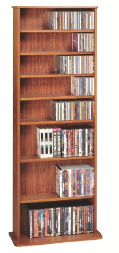 Leslie Dame CDV-500CHY High Capacity Oak Veneer Multimedia Storage Rack, Cherry