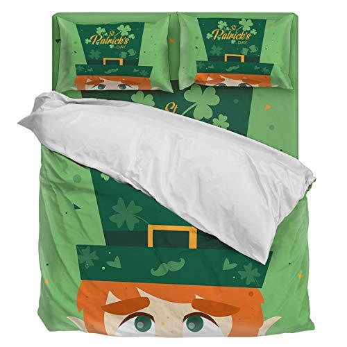 Bedding Duvet Cover Set Ultra Soft 4 Piece(1 Duvet Cover+1 Flat Sheet + 2 Pillowcases) Leprechauns Boy's Hat Twill Plush Comforter Cover Set Full (Hat Plush Leprechaun)