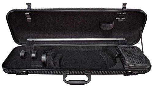 Gewa Idea 1.8 Oblong 4/4 Violin Case, Black Carbon Fiber Weave exterior with Black Interior (Violin Gewa)