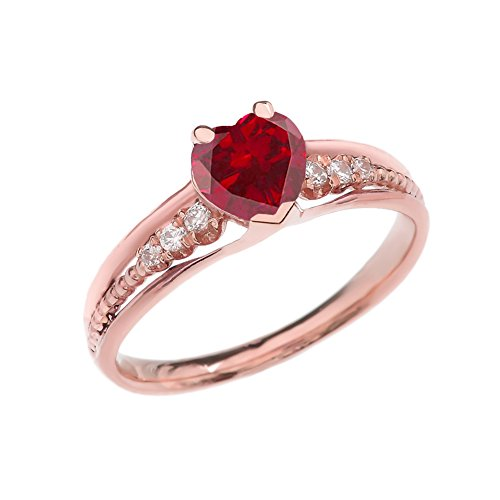 Dazzling 14k Rose Gold Diamond And July Birthstone Heart Beaded Promise Ring (Size 7.5)
