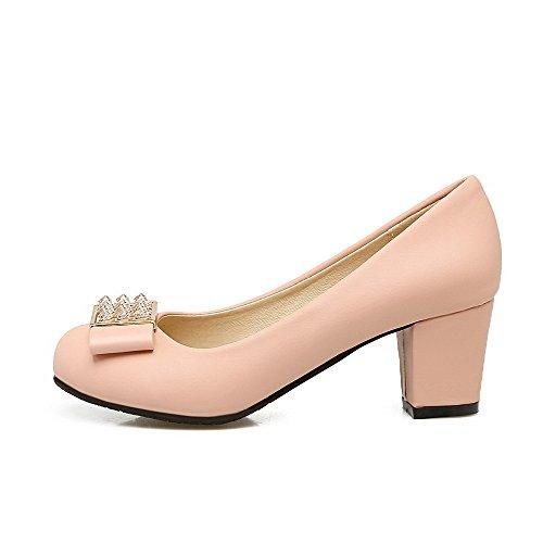 Damen Mikrofaser Mittler Absatz Rund Zehe Rein Ziehen auf Pumps Schuhe, Rot, 38 VogueZone009