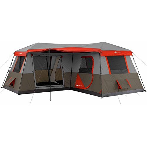Ozark Trail 16×16-Feet 12-Person 3 Room Instant Cabin Tent with Pre-Attached Poles, Red